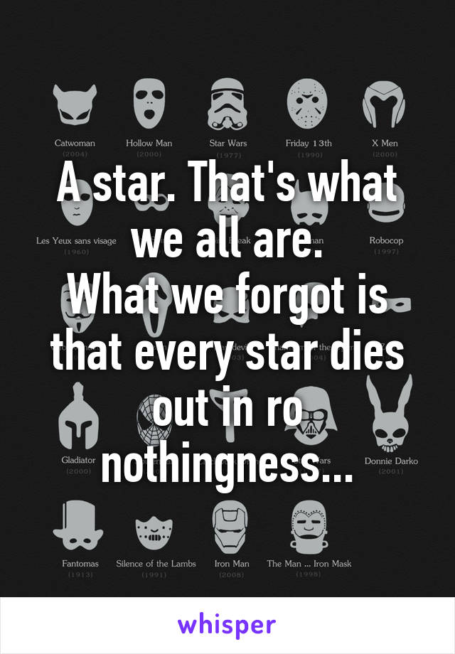 A star. That's what we all are. What we forgot is that every star dies out in ro nothingness...