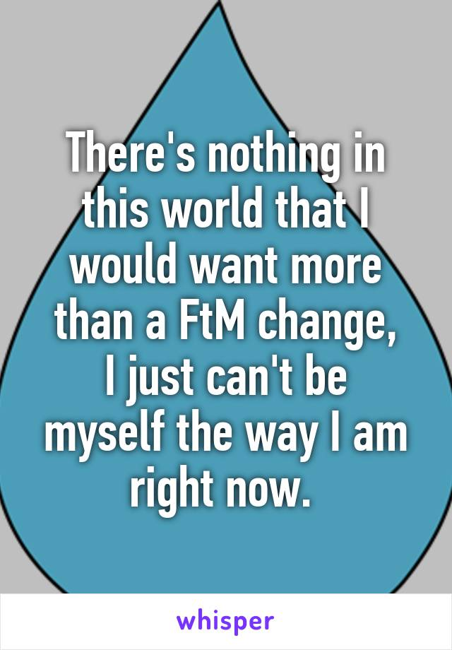 There's nothing in this world that I would want more than a FtM change, I just can't be myself the way I am right now.