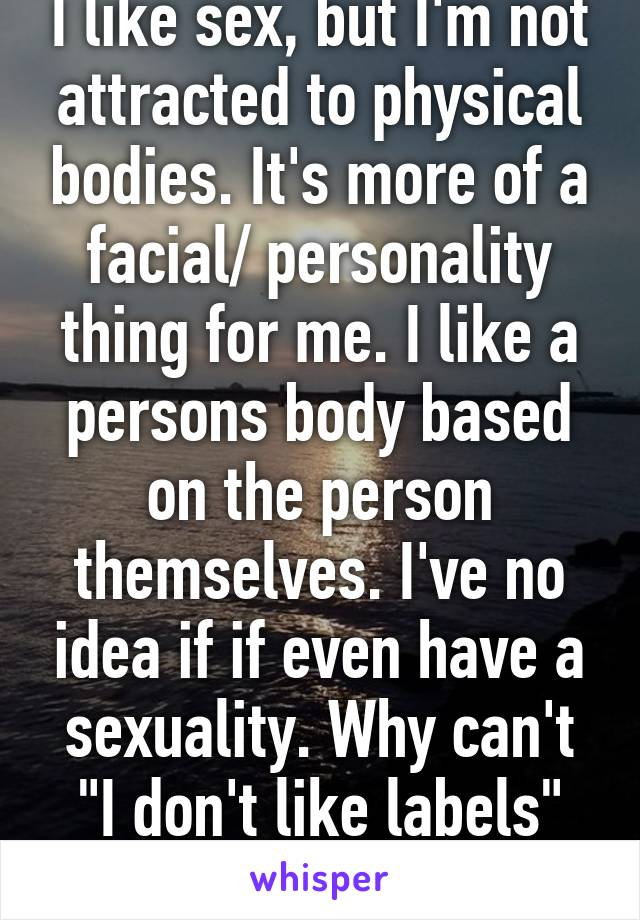 "I like sex, but I'm not attracted to physical bodies. It's more of a facial/ personality thing for me. I like a persons body based on the person themselves. I've no idea if if even have a sexuality. Why can't ""I don't like labels"" be good enough?"