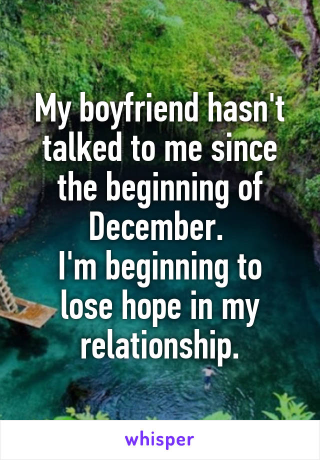 My boyfriend hasn't talked to me since the beginning of December.  I'm beginning to lose hope in my relationship.