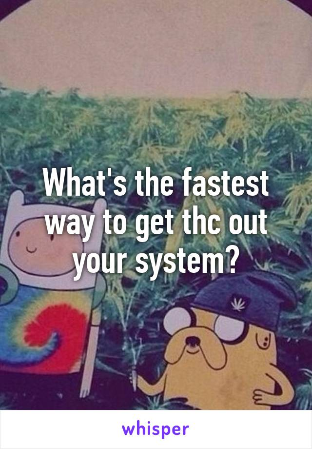What's the fastest way to get thc out your system?