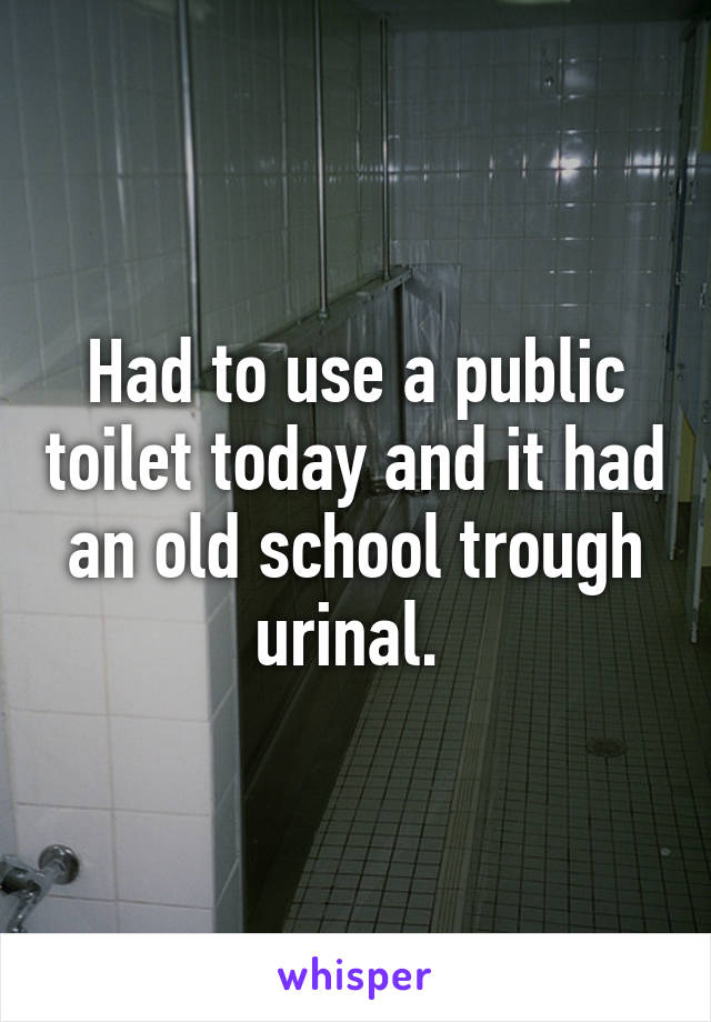 Had to use a public toilet today and it had an old school trough urinal.