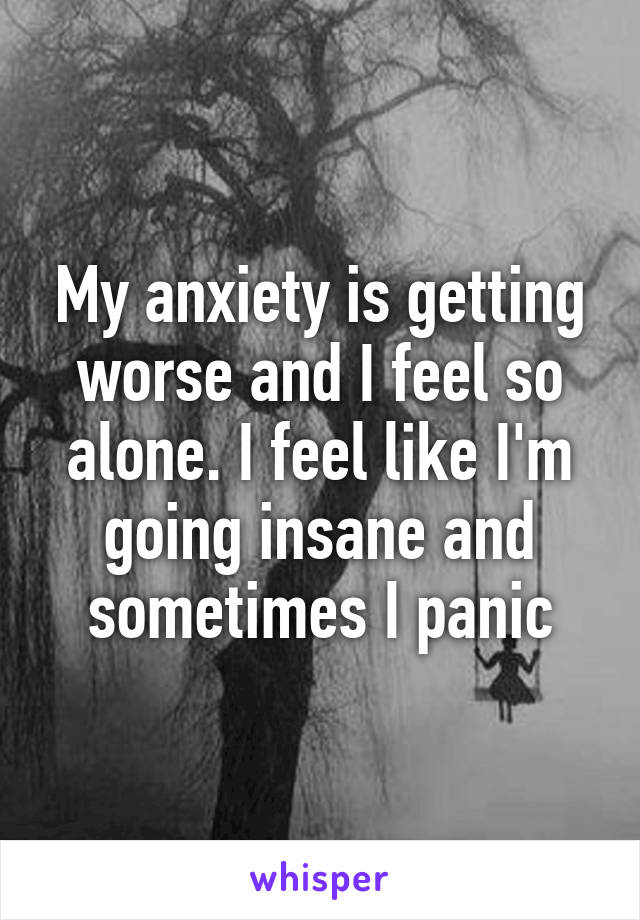 My anxiety is getting worse and I feel so alone. I feel like I'm going insane and sometimes I panic