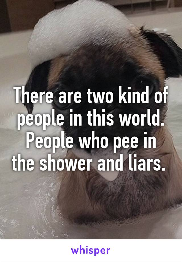 There are two kind of people in this world. People who pee in the shower and liars.