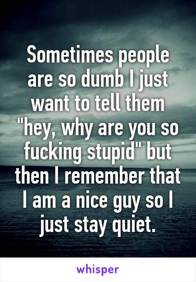 """Sometimes people are so dumb I just want to tell them """"hey, why are you so fucking stupid"""" but then I remember that I am a nice guy so I just stay quiet."""