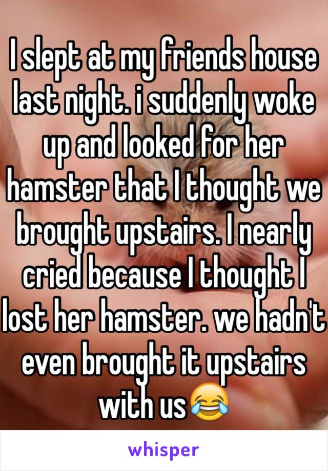 I slept at my friends house last night. i suddenly woke up and looked for her hamster that I thought we brought upstairs. I nearly cried because I thought I lost her hamster. we hadn't even brought it upstairs with us😂