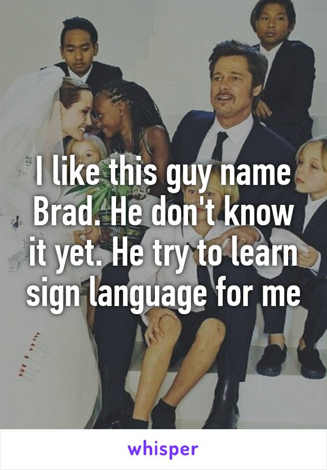 I like this guy name Brad. He don't know it yet. He try to learn sign language for me