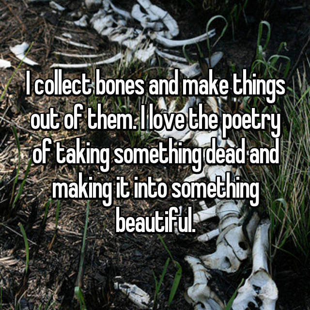 I collect bones and make things out of them. I love the poetry of taking something dead and making it into something beautiful.