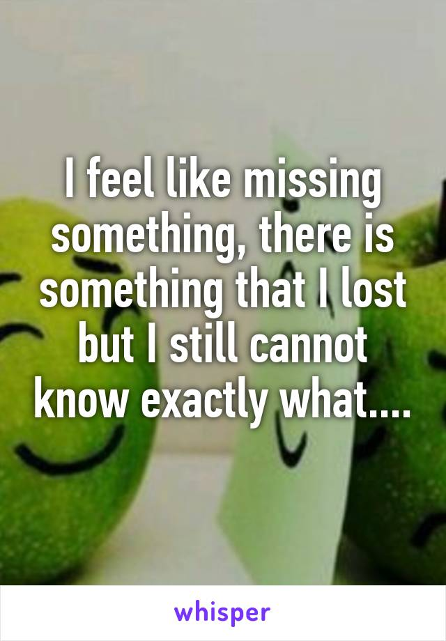 I feel like missing something, there is something that I lost but I still cannot know exactly what....