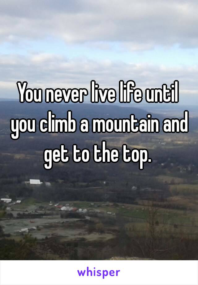 You never live life until you climb a mountain and get to the top.