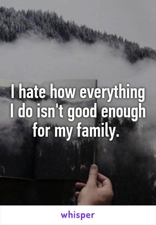 I hate how everything I do isn't good enough for my family.