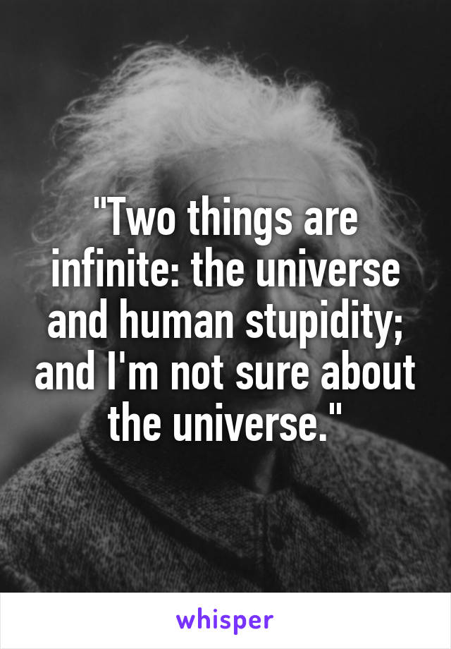 """""""Two things are infinite: the universe and human stupidity; and I'm not sure about the universe."""""""