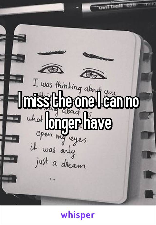 I miss the one I can no longer have