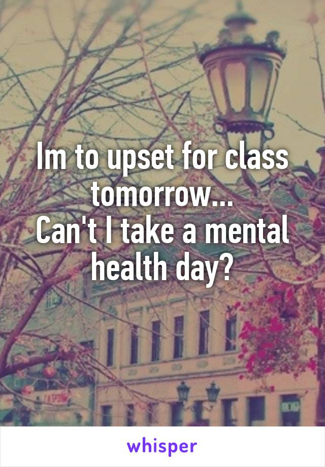 Im to upset for class tomorrow... Can't I take a mental health day?