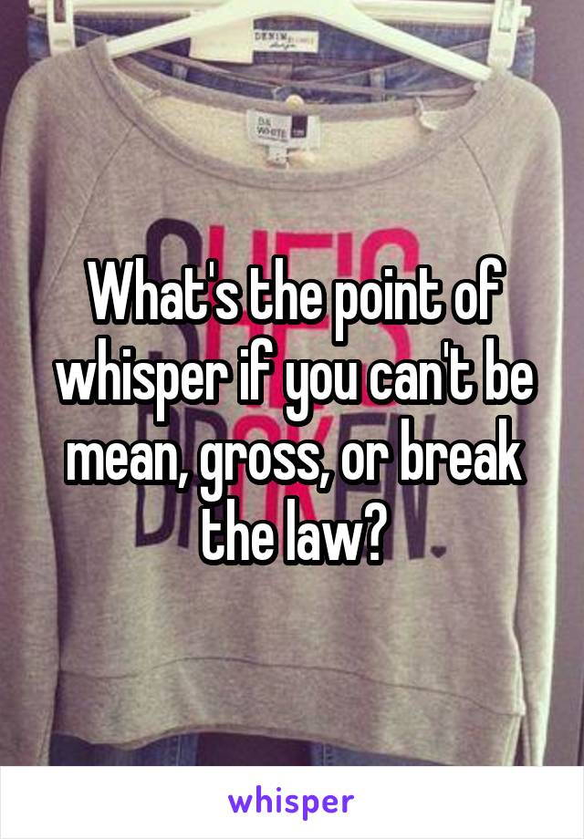 What's the point of whisper if you can't be mean, gross, or break the law?