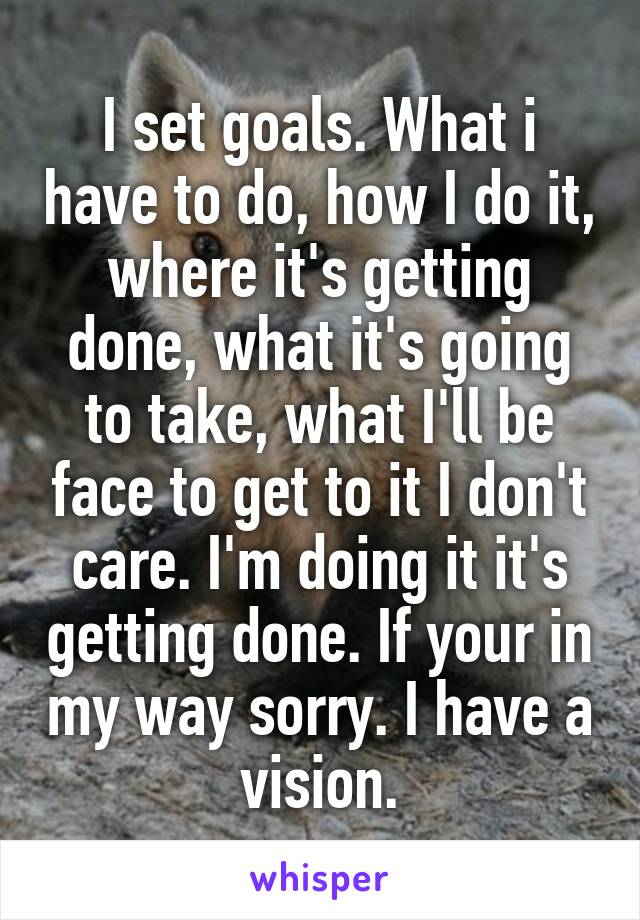 I set goals. What i have to do, how I do it, where it's getting done, what it's going to take, what I'll be face to get to it I don't care. I'm doing it it's getting done. If your in my way sorry. I have a vision.
