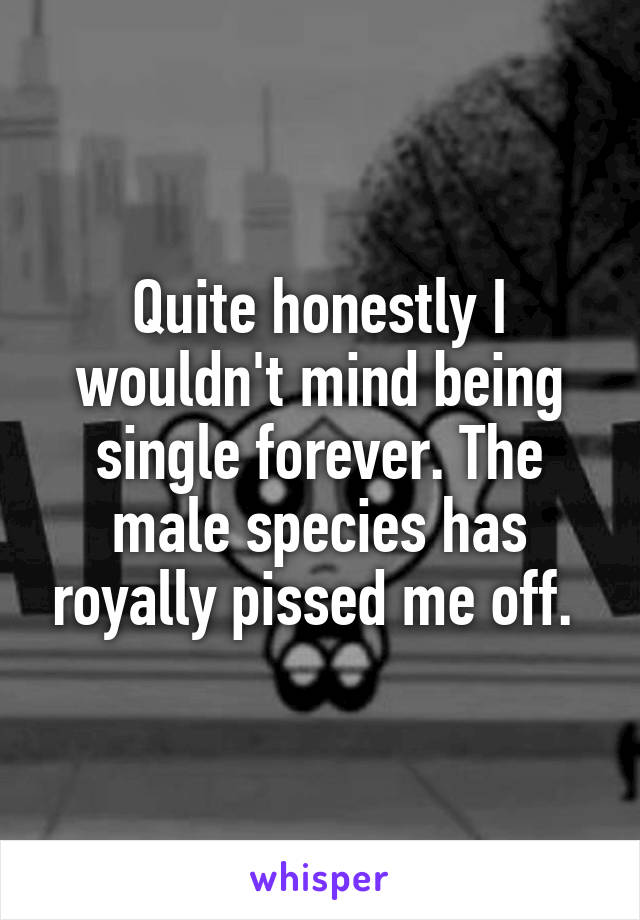 Quite honestly I wouldn't mind being single forever. The male species has royally pissed me off.