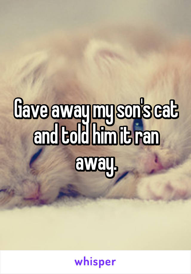 Gave away my son's cat and told him it ran away.