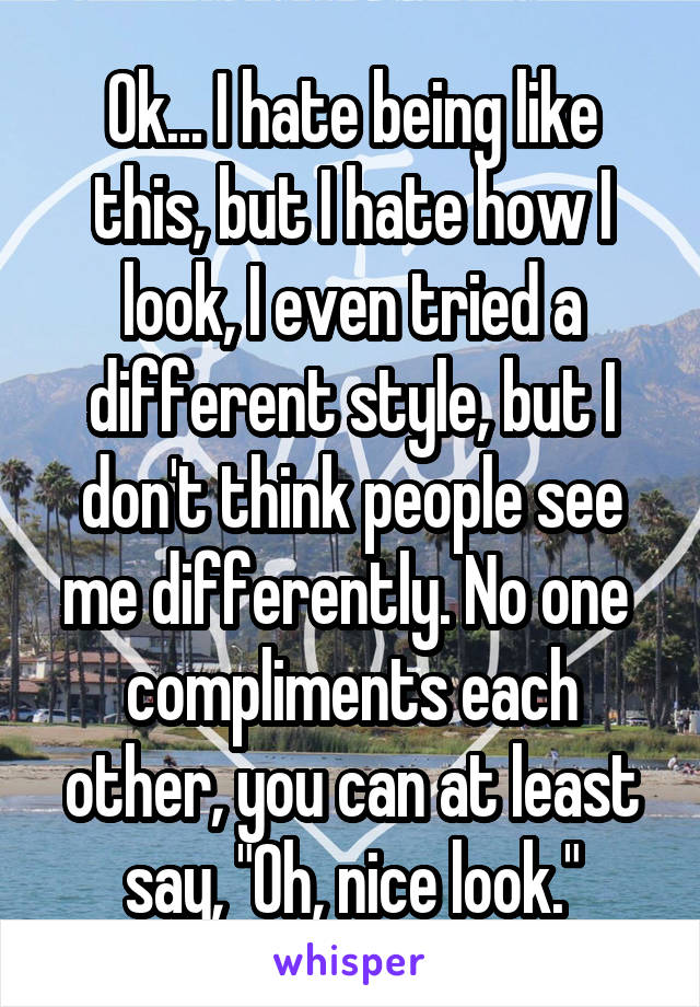 """Ok... I hate being like this, but I hate how I look, I even tried a different style, but I don't think people see me differently. No one  compliments each other, you can at least say, """"Oh, nice look."""""""