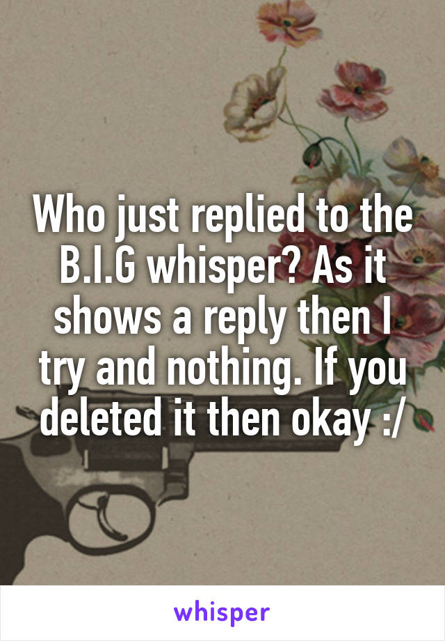 Who just replied to the B.I.G whisper? As it shows a reply then I try and nothing. If you deleted it then okay :/
