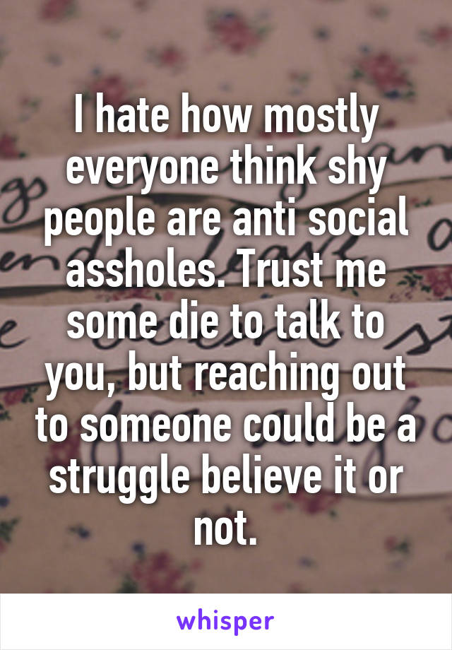 I hate how mostly everyone think shy people are anti social assholes. Trust me some die to talk to you, but reaching out to someone could be a struggle believe it or not.