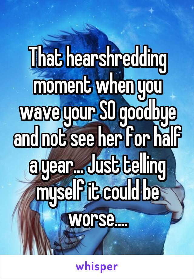 That hearshredding moment when you wave your SO goodbye and not see her for half a year... Just telling myself it could be worse....