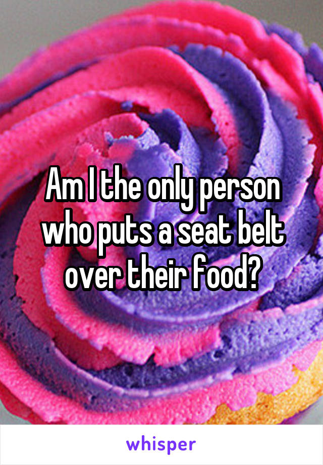 Am I the only person who puts a seat belt over their food?