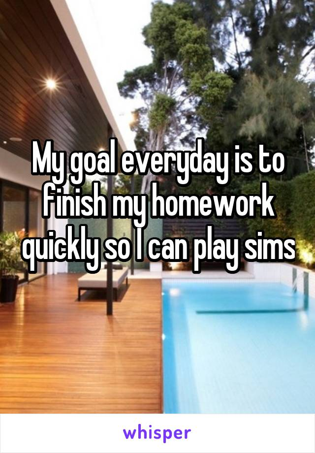 My goal everyday is to finish my homework quickly so I can play sims