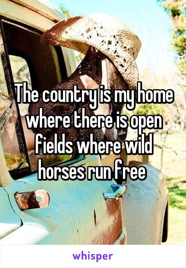 The country is my home where there is open fields where wild horses run free