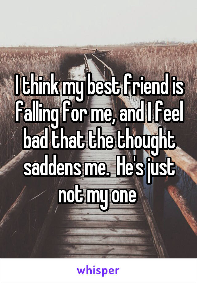 I think my best friend is falling for me, and I feel bad that the thought saddens me.  He's just not my one
