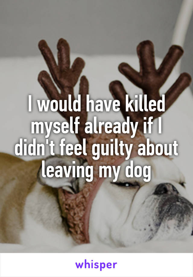I would have killed myself already if I didn't feel guilty about leaving my dog