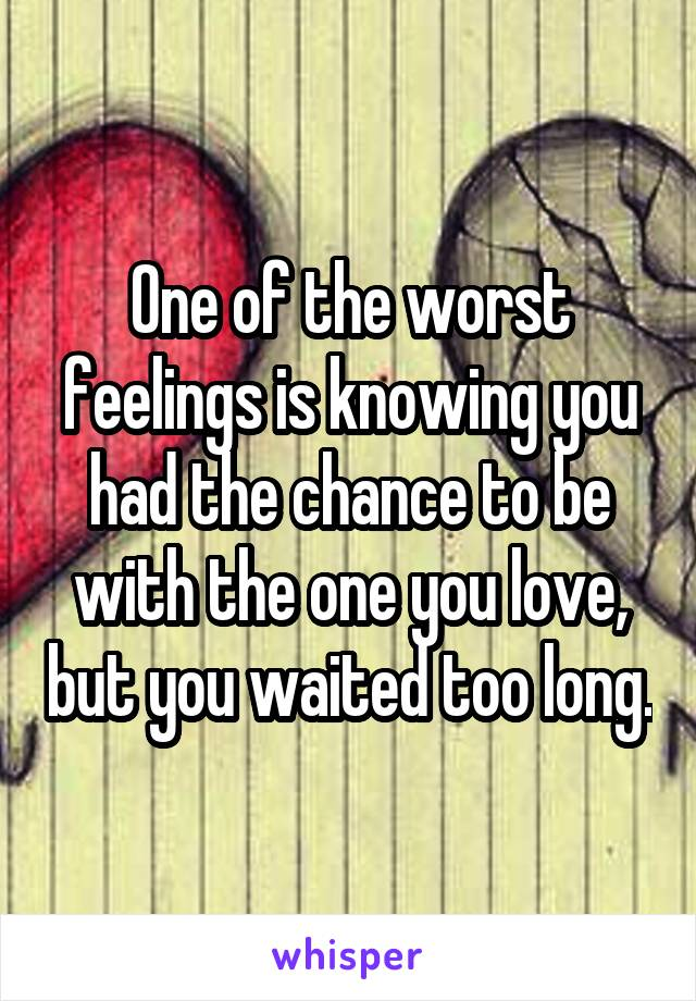 One of the worst feelings is knowing you had the chance to be with the one you love, but you waited too long.