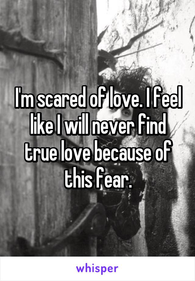 I'm scared of love. I feel like I will never find true love because of this fear.
