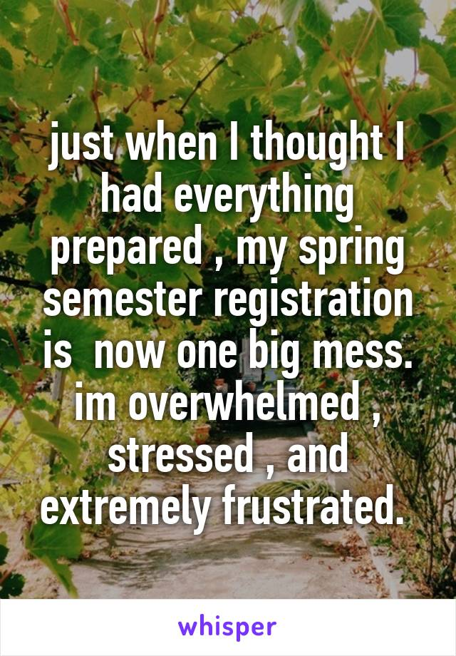 just when I thought I had everything prepared , my spring semester registration is  now one big mess. im overwhelmed , stressed , and extremely frustrated.