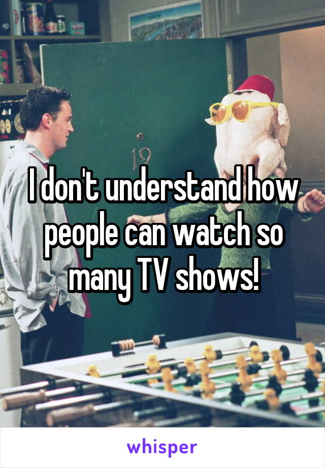 I don't understand how people can watch so many TV shows!