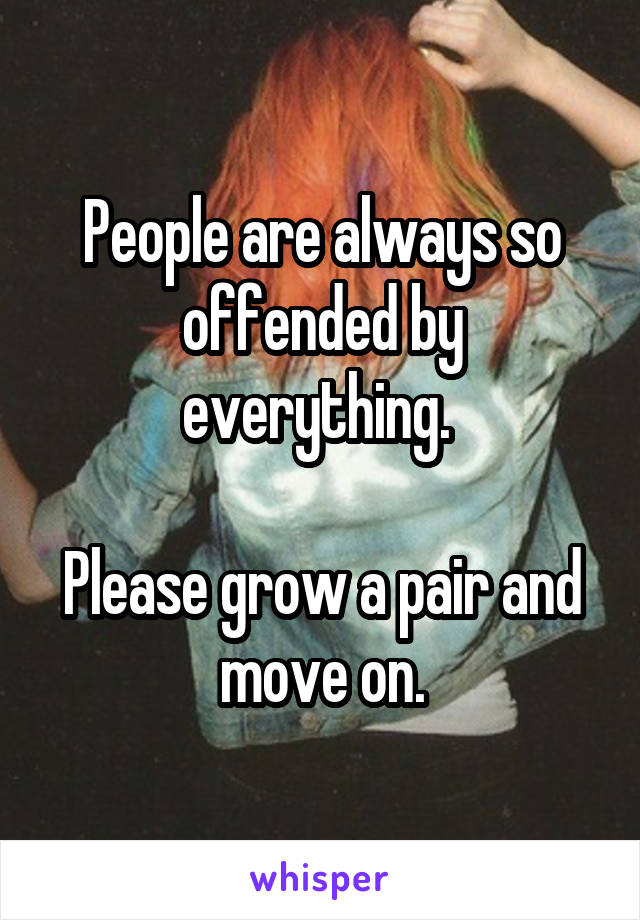 People are always so offended by everything.   Please grow a pair and move on.