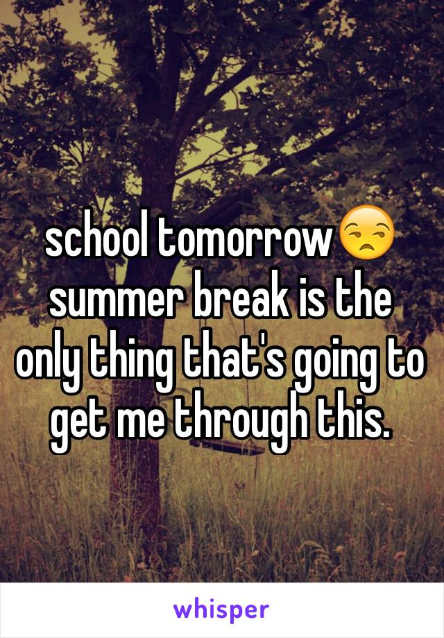 school tomorrow😒 summer break is the only thing that's going to get me through this.