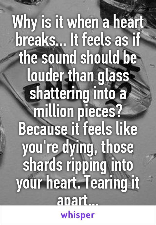 Why is it when a heart breaks... It feels as if the sound should be louder than glass shattering into a million pieces? Because it feels like you're dying, those shards ripping into your heart. Tearing it apart...