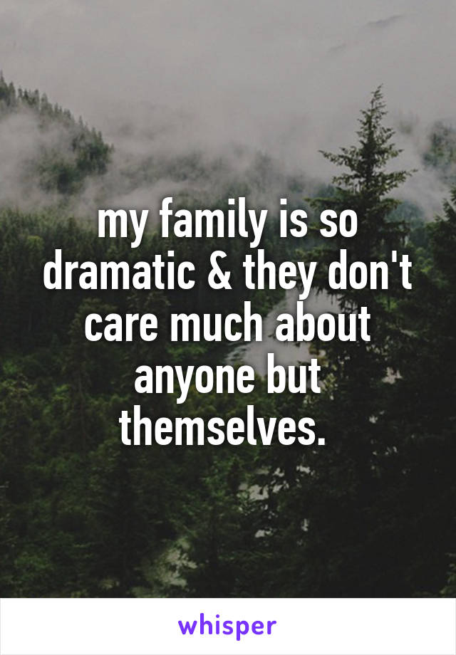 my family is so dramatic & they don't care much about anyone but themselves.