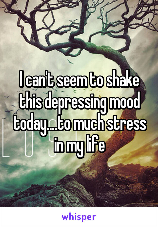 I can't seem to shake this depressing mood today....to much stress in my life