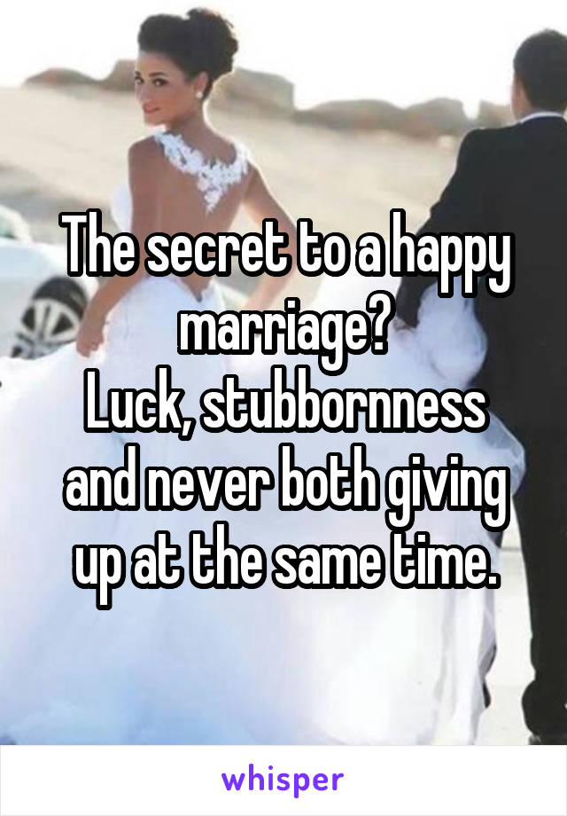The secret to a happy marriage? Luck, stubbornness and never both giving up at the same time.