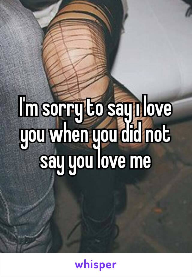 I'm sorry to say ı love you when you did not say you love me