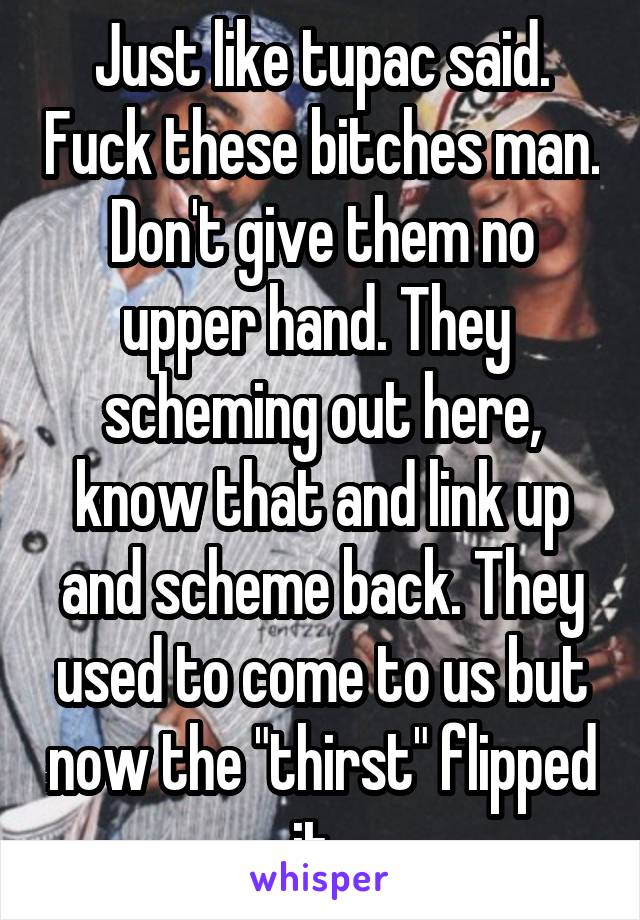 """Just like tupac said. Fuck these bitches man. Don't give them no upper hand. They  scheming out here, know that and link up and scheme back. They used to come to us but now the """"thirst"""" flipped it."""