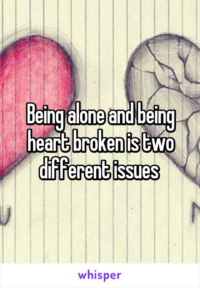 Being alone and being heart broken is two different issues