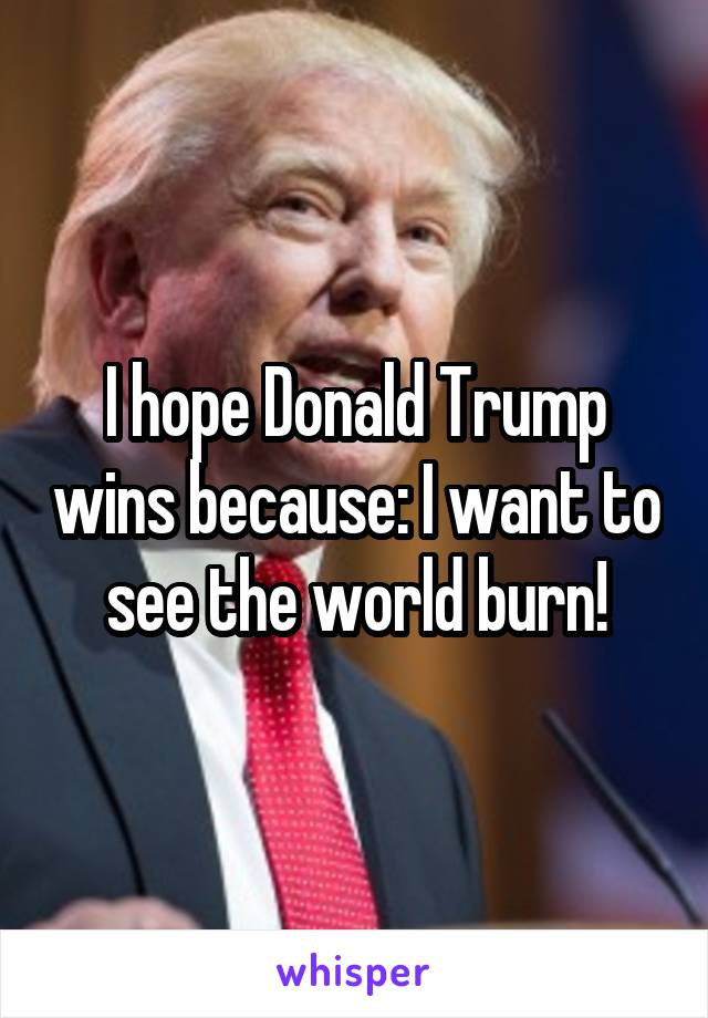 I hope Donald Trump wins because: I want to see the world burn!