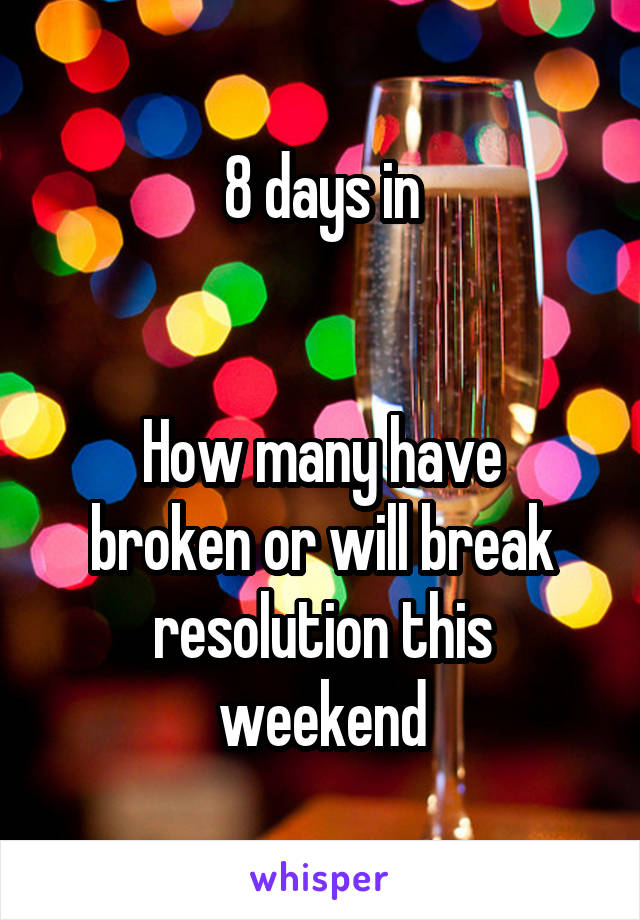 8 days in   How many have broken or will break resolution this weekend