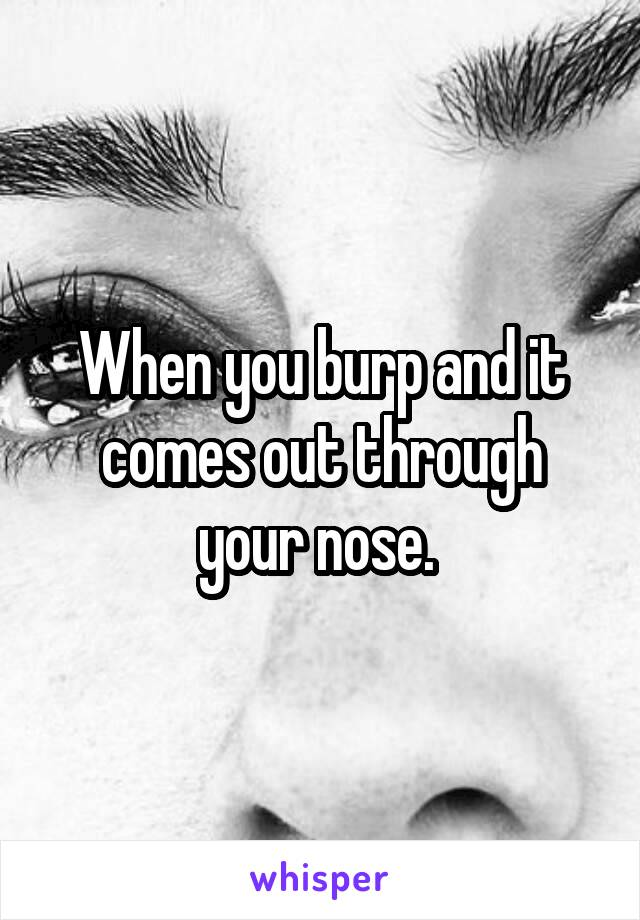 When you burp and it comes out through your nose.