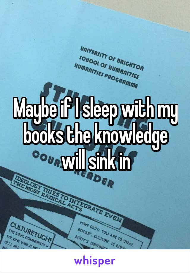 Maybe if I sleep with my books the knowledge will sink in