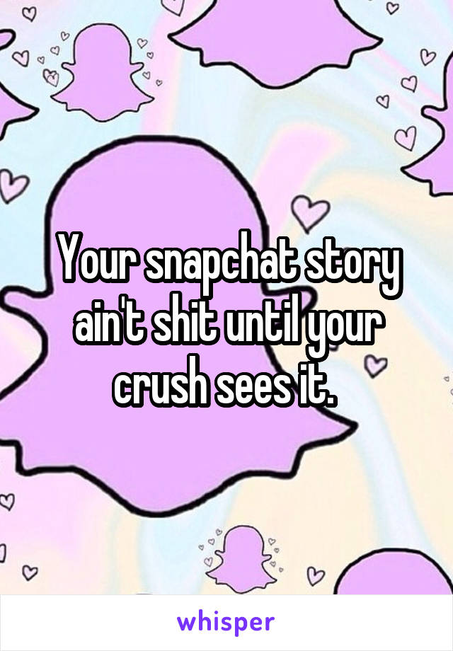 Your snapchat story ain't shit until your crush sees it.