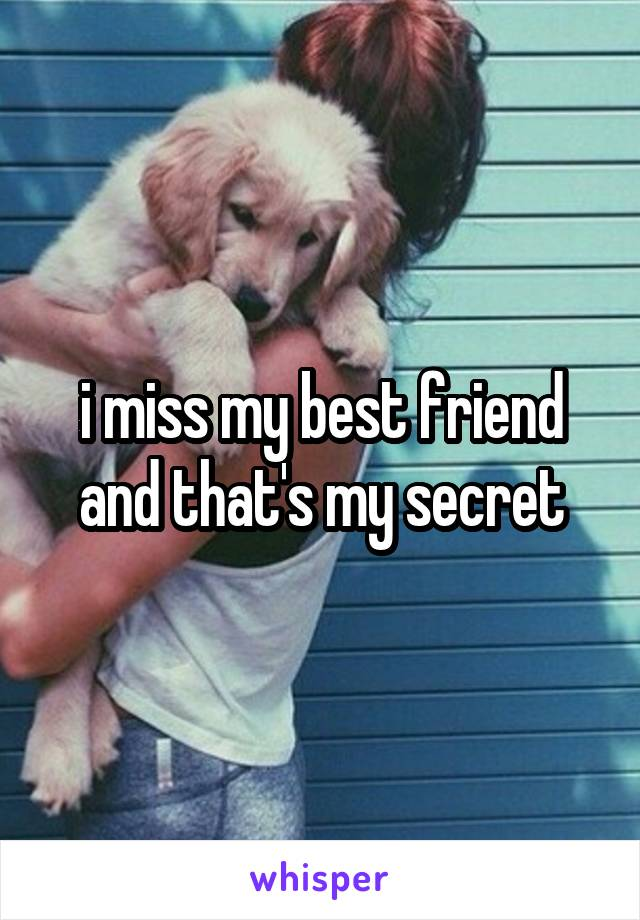 i miss my best friend and that's my secret